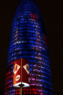 Image of Torre Agbar near GTD. barcelona night torre agbar