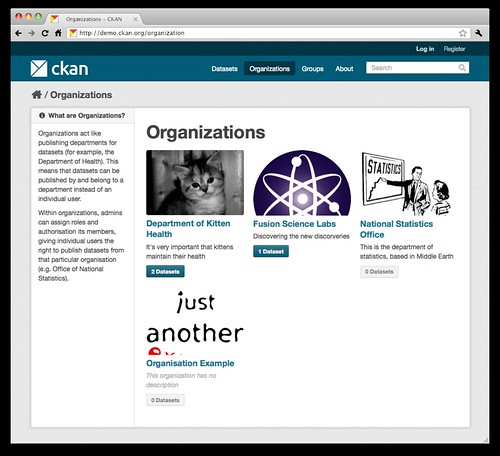 [Screenshot: Organizations page]