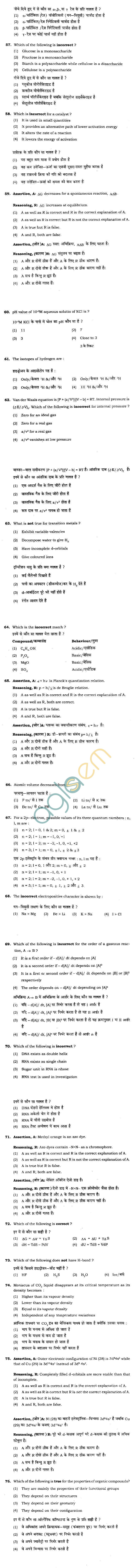 BHU UET 2012 B.Sc. Biology Question Paper