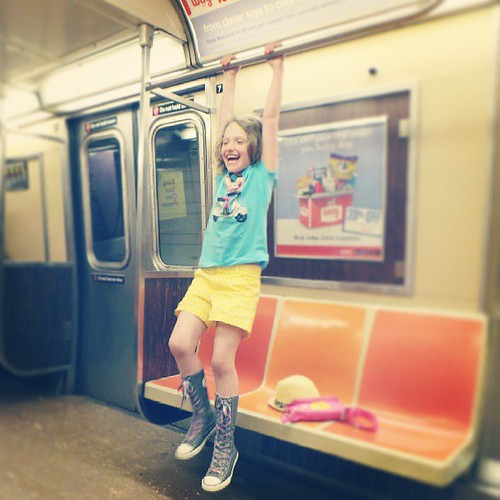 I told her if we ended up in a subway by ourselves she could do this. I didn't think it would actually happen. #AddieInNYC