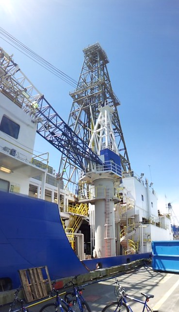 A port side view of the work decks of the JOIDES Resolution.