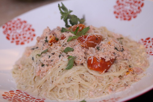 Capellini with Salmon White Wine Cream Sauce, Roasted Tomatoes, and Fresh Oregano