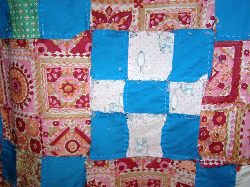 Vintage Red and Turquoise 9 Square Quilt