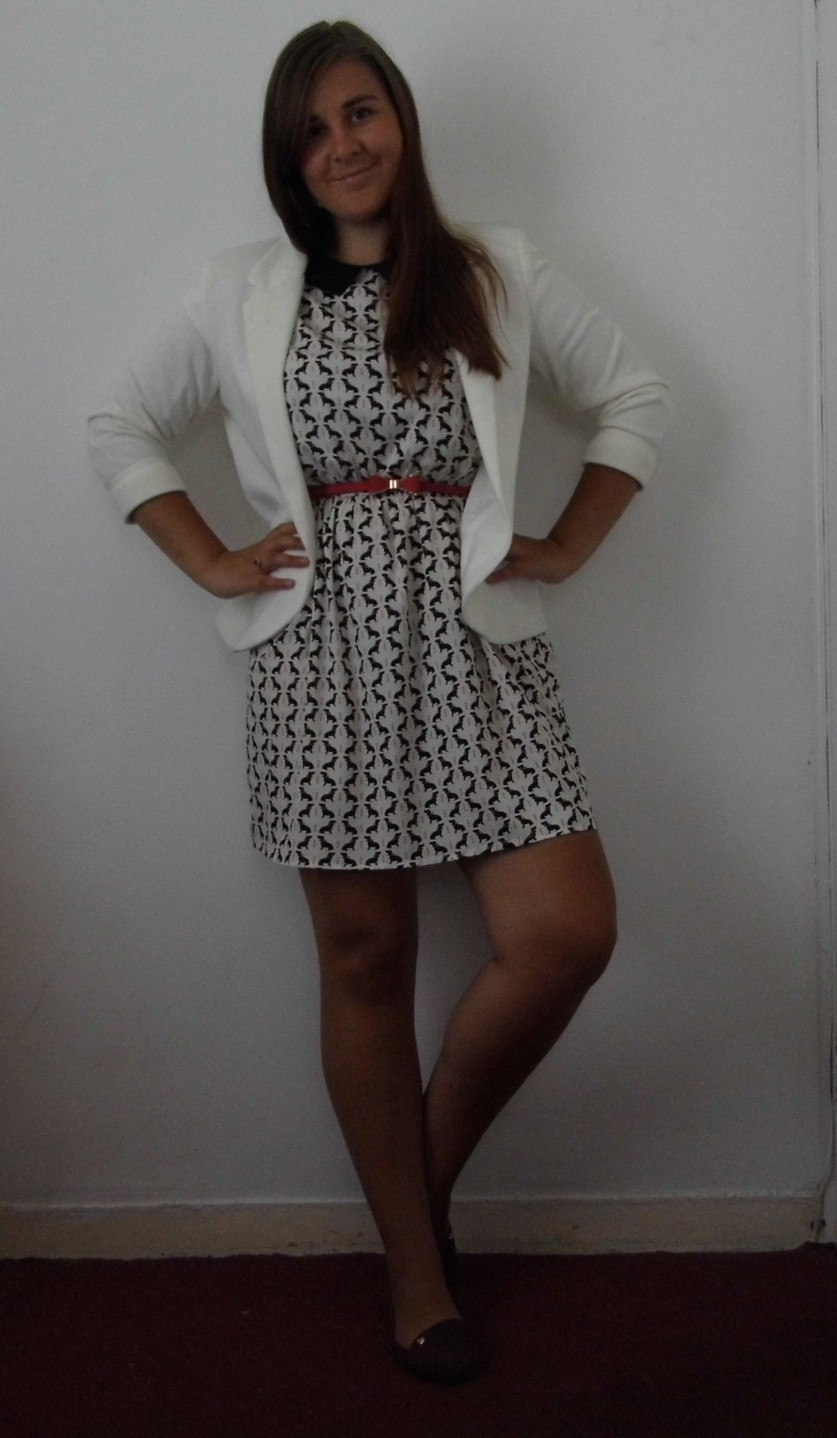 Dog Print Dress & Cream Jacket 2