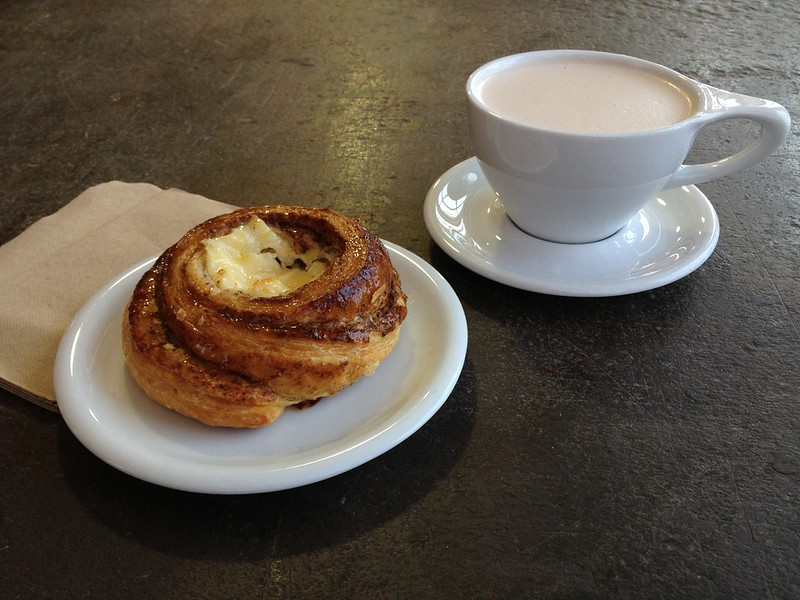 Cheese Danish and cup of hot chocolate at M. E. Swing Coffee Roasters