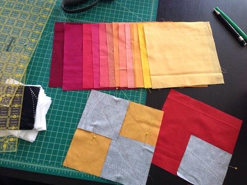 Finally getting a chance to work with the warm section of my kaffe shot cotton swap goodies!