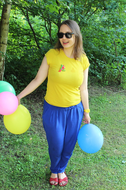 yellow and blue and balloons