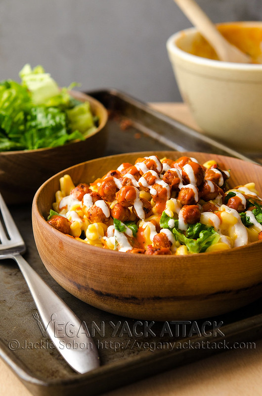 Buffalo Chickpea Mac n Cheese - Creamy Mac 'n' Cheese paired with Buffalo-roasted chickpeas, crunchy romaine and a delicious ranch-style sauce!