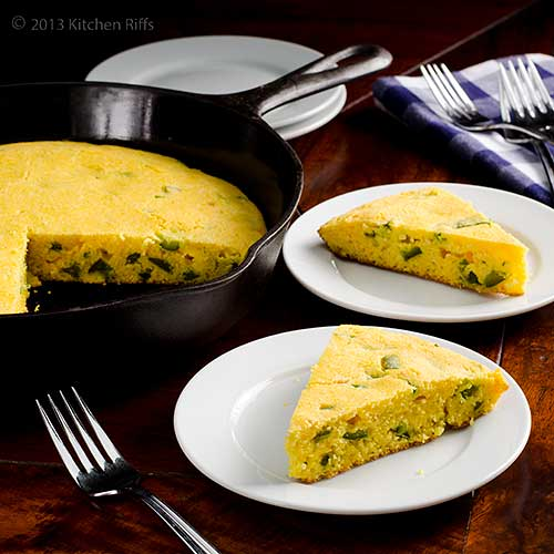 Skillet Jalapeño Cornbread on plates, with skillet in background