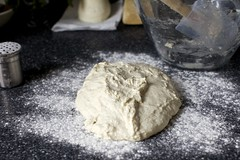 flop onto a floured counter