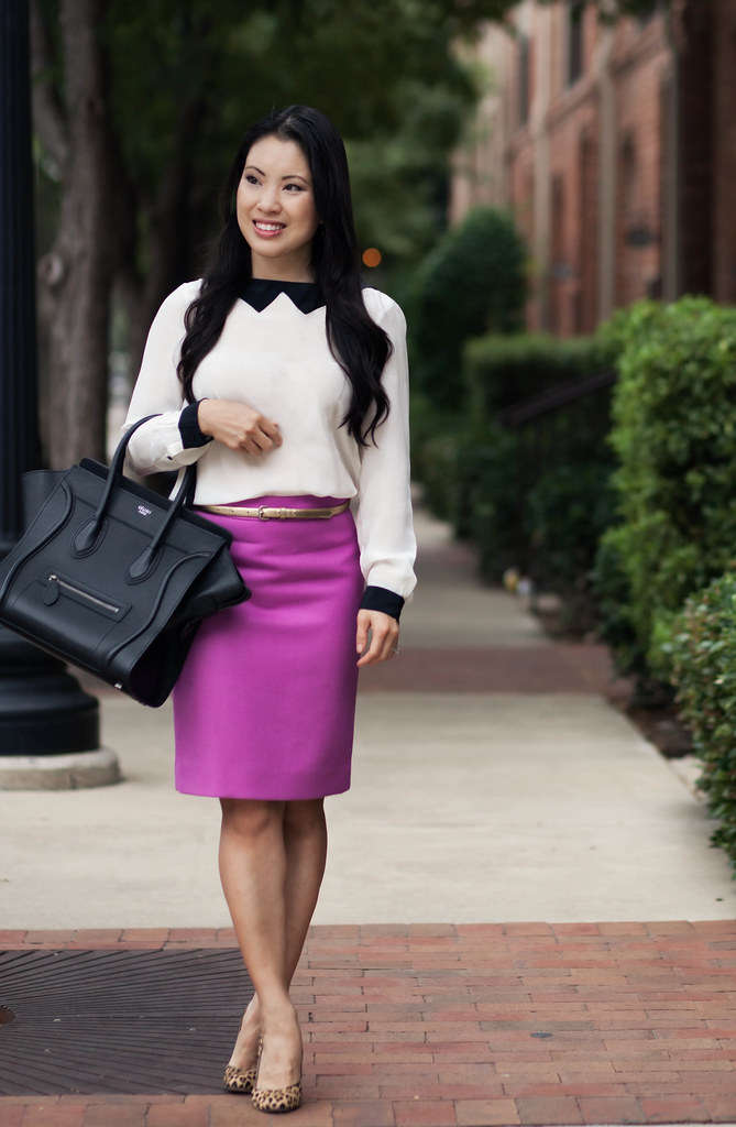 cute & little blog | zara tuxedo shirt, j. crew pink pencil skirt, leopard pumps, celine mini luggage tote outfit #ootd