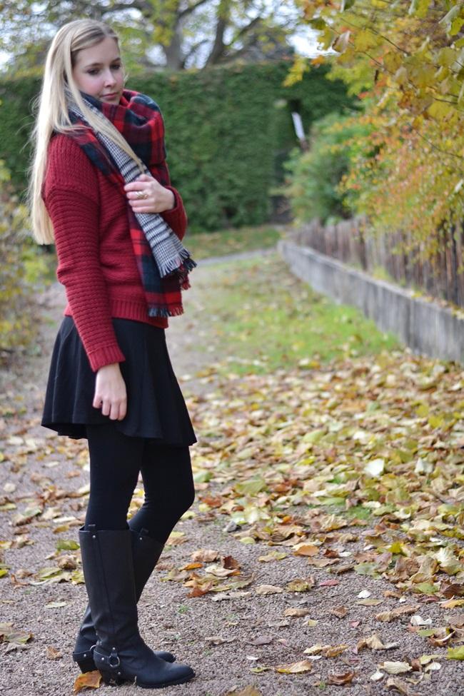 Outfit Zaraschal rot weinrot (3)