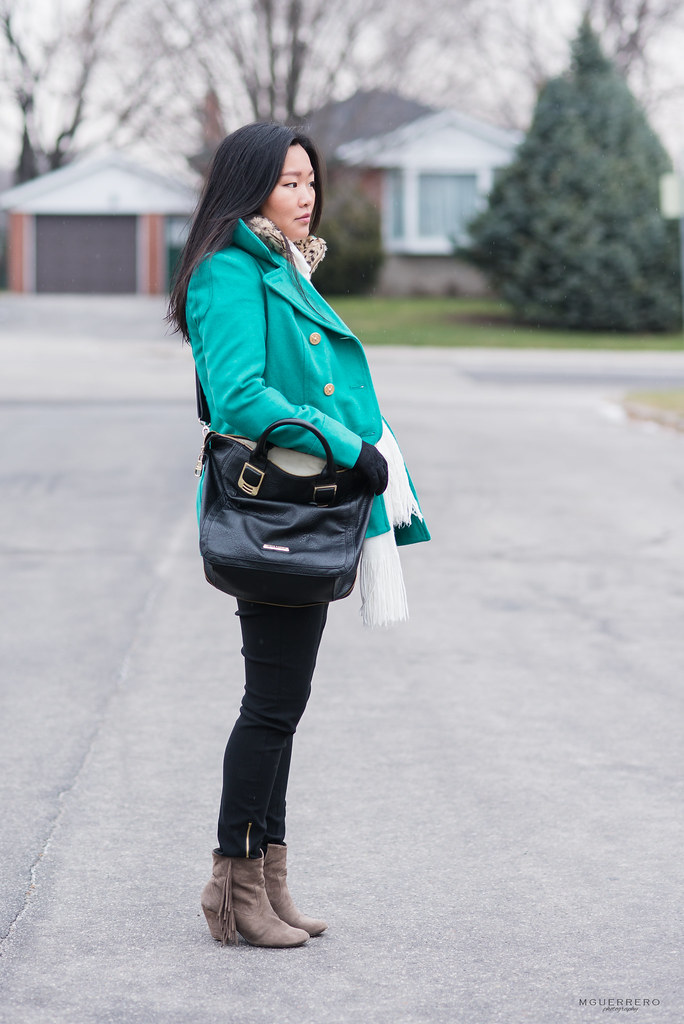 Old Navy teal jacket, express lace gloves, mens gap sweater, steve madden gold zipper purse and fringe boots