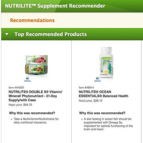 NUTRILITE® Supplement Recommender Recommendations