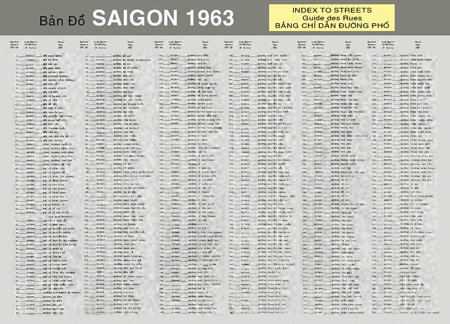 Bản Đồ SAIGON 1963 - INDEX TO STREETS - Bảng chỉ dẫn đường phố