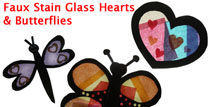 stain glass hearts and butterflies