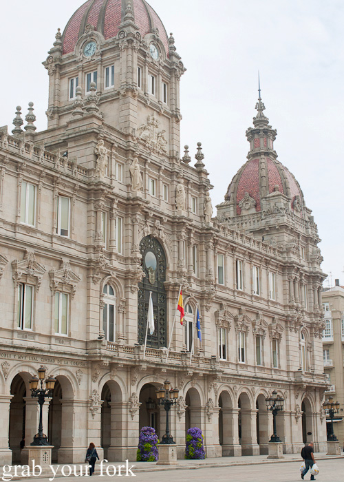 Palacio Municipal City Hall in Maria Pita Square, A Coruna, Galicia, Spain