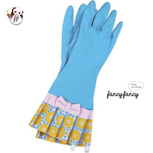 49.繽紛小花蝴蝶結橡膠手套-粉藍色