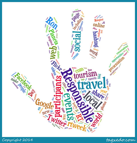 Resposible Travel Wordcloud for #rtweek14