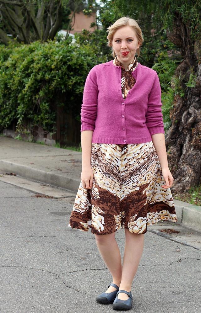fuchsia cardigan, vintage chocolate swirls dress
