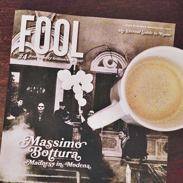 Sleepy time warm milk with turmeric, licorice, cardamom, honey and rosewater. And this amazing Italian issue from Fool. #idreamofitaly