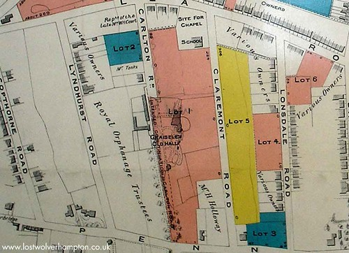 Coloured plan of the site now up for sale in 1905.