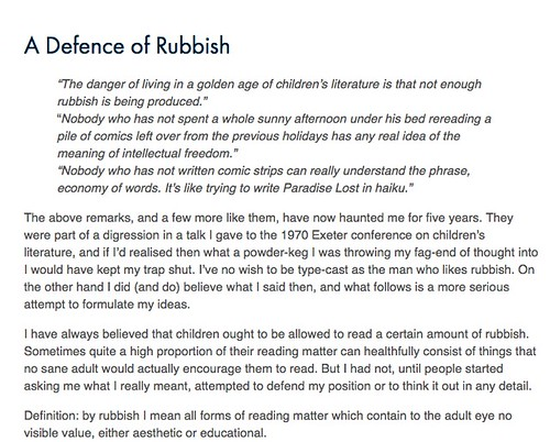 Peter Dickinson, A Defence of Rubbish