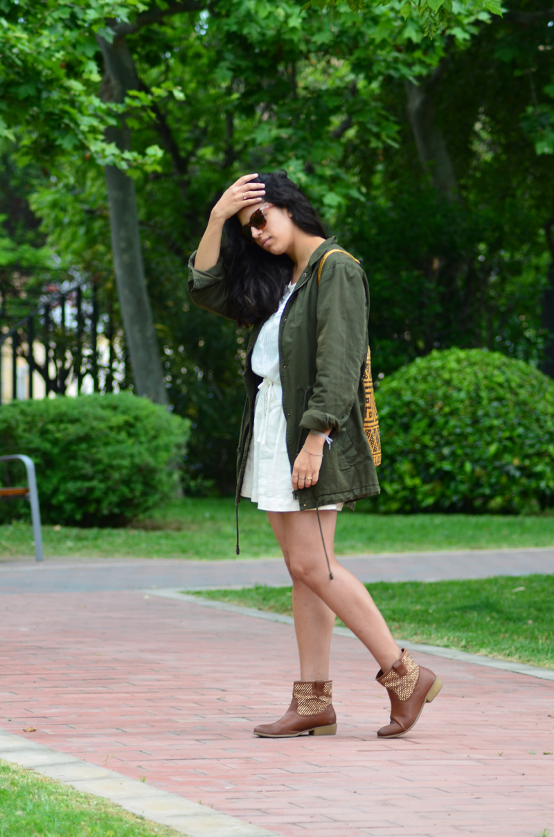florenciablog green parka zara stradivarius look beig bolso hippie mochila gandia fashion style (10)