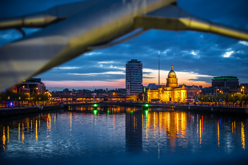 The Custom House at sunset, Dublin, Ireland