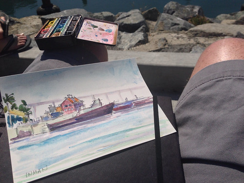 Painting at the San Diego bay