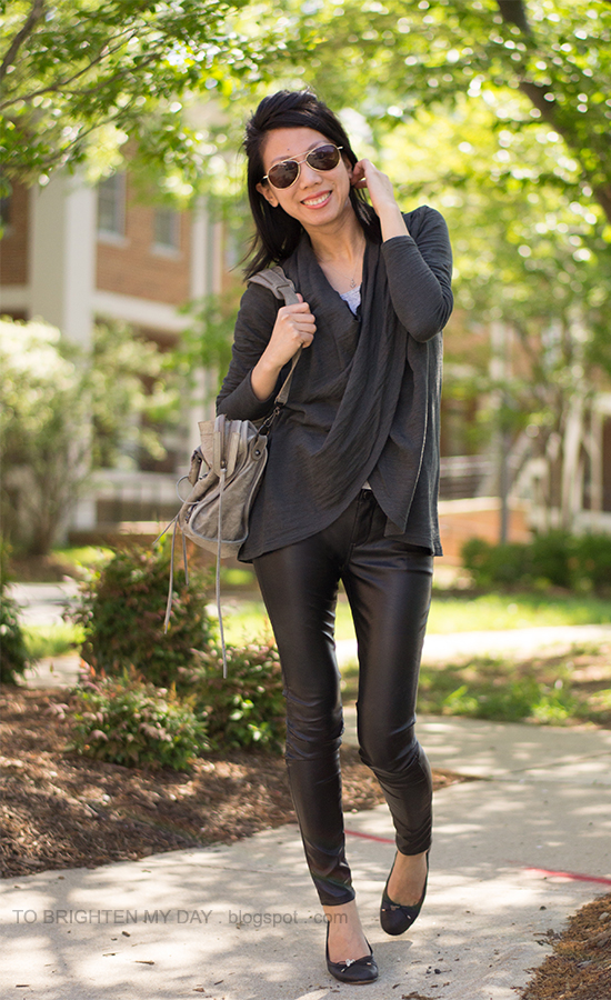 wrap top, faux leather pants, black ballet flats