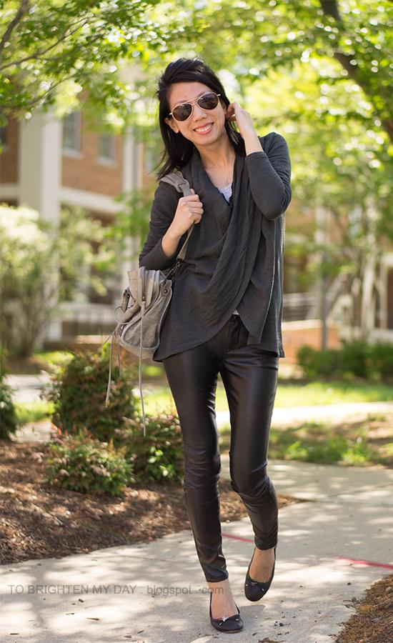 wrap top, faux leather pants, black ballet flats