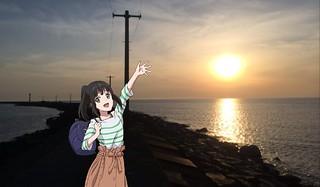 夕景@三国サンセットビーチ。