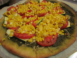 Corn, Pesto, Zucchini, and Tomato Pizza