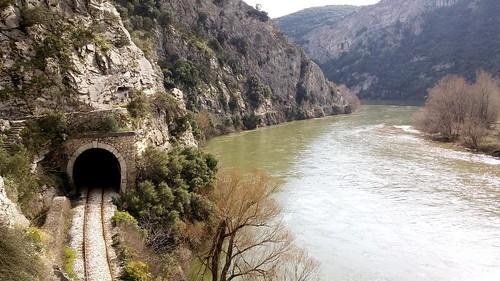 mountain nature train river greece