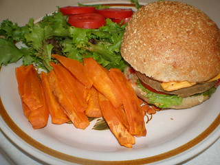 Veggie burger; Sweet Potato Fries; salad