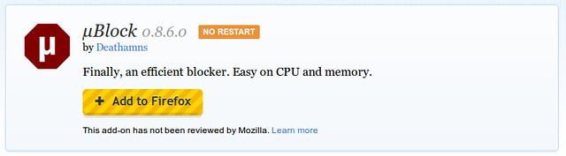 µBlock a Mozilla Add-ons oldalán