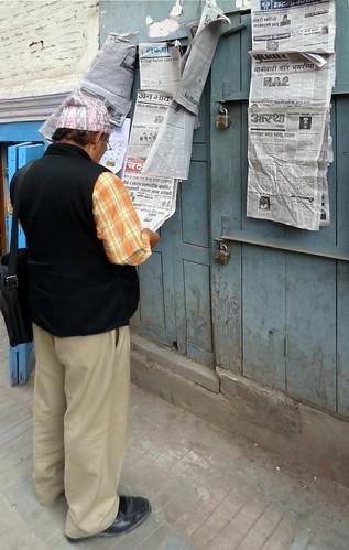 Nepal - Kathmandu - Man Reading Newspaper