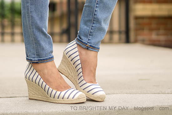 J.Crew Factory striped espadrille wedges