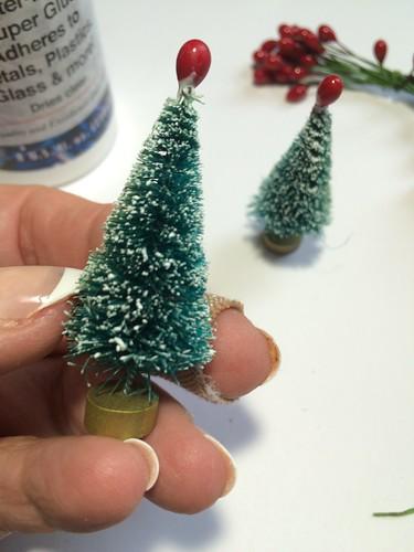 adding pips to bottle brush trees