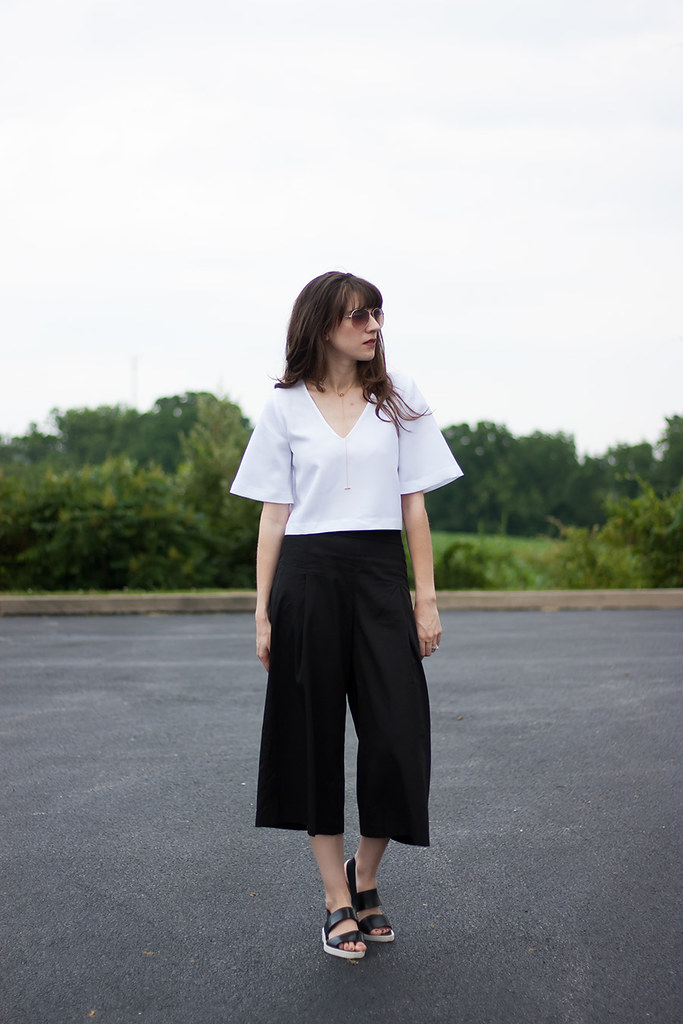 Vetta Capsule Top and Culottes, Everlane Street Sandal