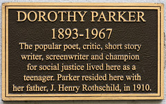 Photo of Dorothy Parker and J. Henry Rothschild black plaque