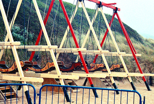 Swingboats Woolacombe Beach by 35mm_photographs
