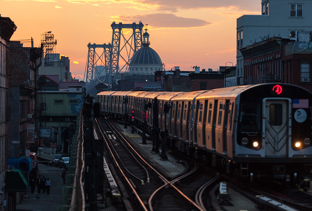 J train delivers the last of the days sun