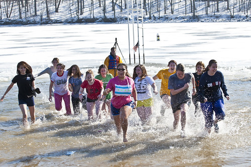 Students raise money for the Special Olympics of Western Illinois during the Polar Plunge at Lake Storey.