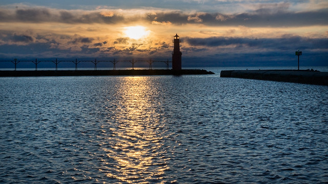 Sunrise, Lighthouse, Water, Lake Michigan, Algoma, Wisconsin