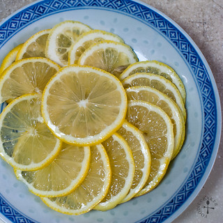 slice a lemon as thinly as possible