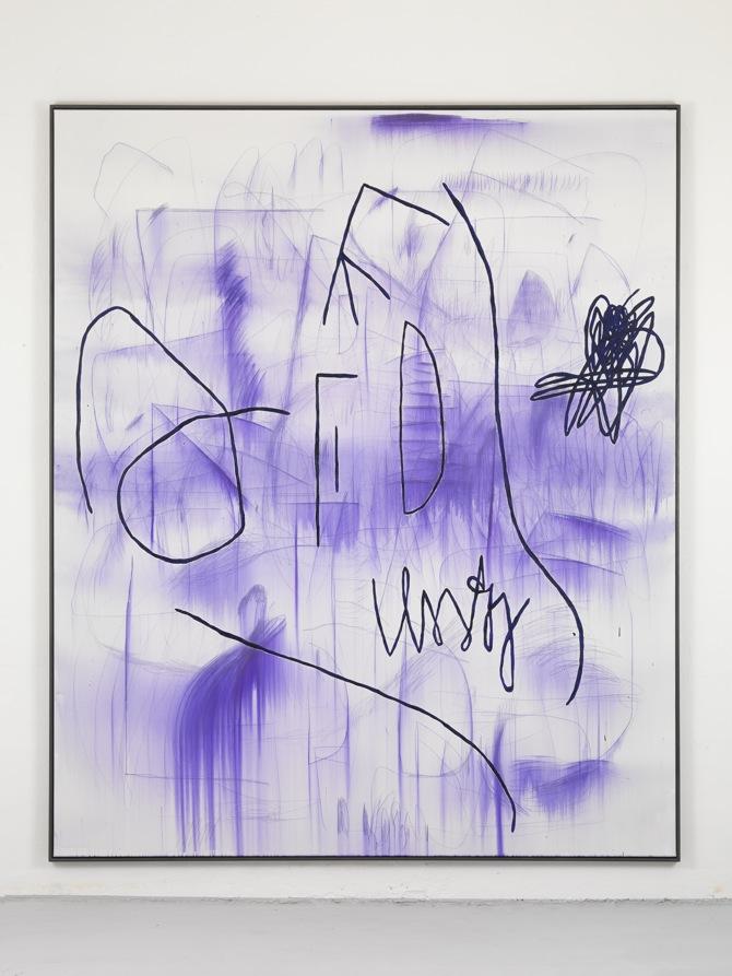 1 Jana Schröder, Spontacts, L 10, 2012, 240 x 200 cm, Kopierstift und Öl auf Leinwand