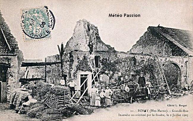 ferme en Haute-Marne ravagée par un incendie après avoir été frappée par la foudre le 2 juillet 1905 météopassion météopassion