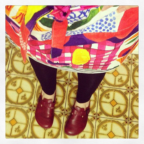 My cooking uniform, Birkenstocks, #marimekko stripes & #marimekko apron